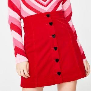 Lazy Oaf Heart Button Velvet Skirt